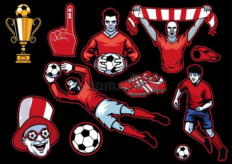 套足球概念对象汇集 库存例证