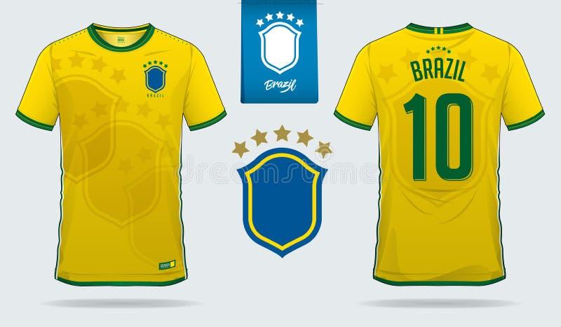 套足球球衣或橄榄球成套工具巴西国家橄榄球队的模板设计 前面和后面看法足球制服 向量例证