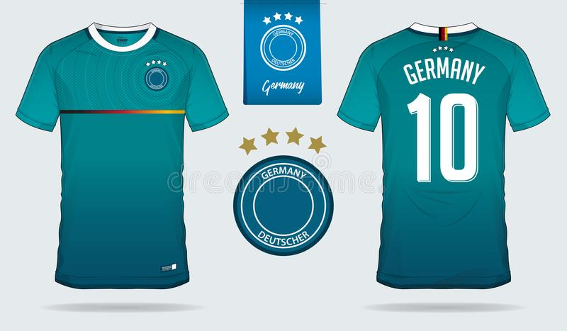 套足球球衣或橄榄球成套工具德国国家橄榄球队的模板设计图片