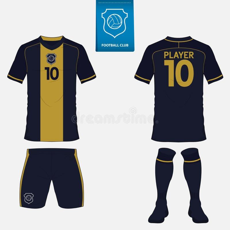 套足球球衣或橄榄球成套工具模板 前面和后面看法 库存例证
