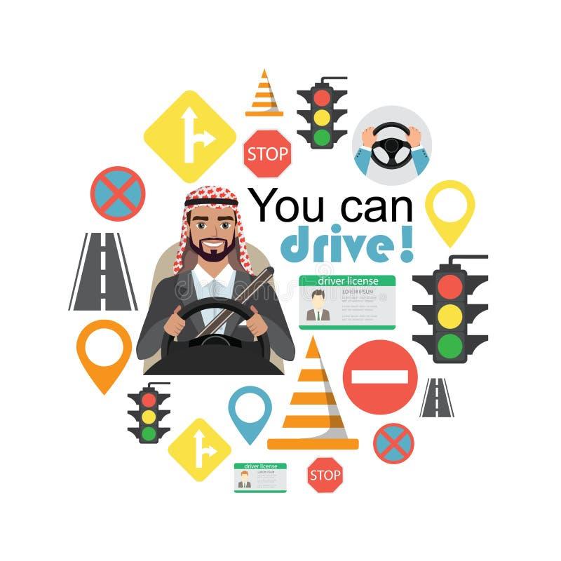 套路标志和司机阿拉伯商人字符 向量例证