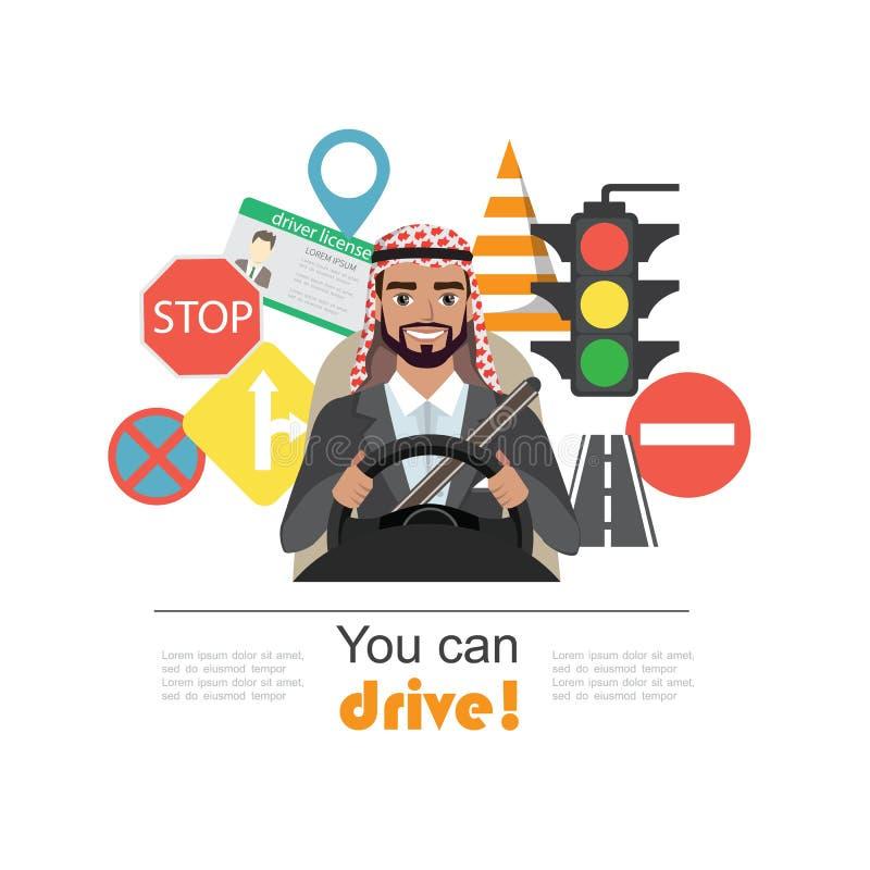 套路标志和司机阿拉伯商人字符 皇族释放例证