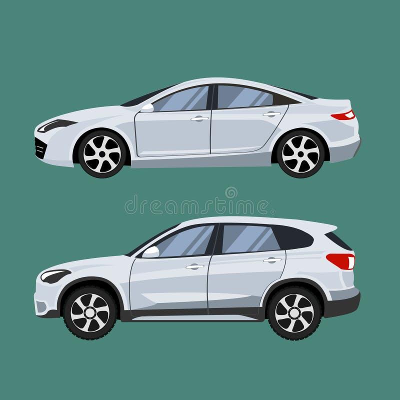 套车suv和轿车在侧视图 库存例证