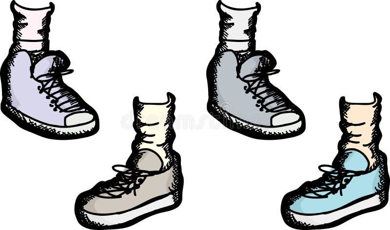 各种各样的运动鞋 皇族释放例证