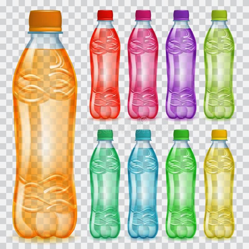 套透明塑料瓶用多彩多姿的汁液 库存例证