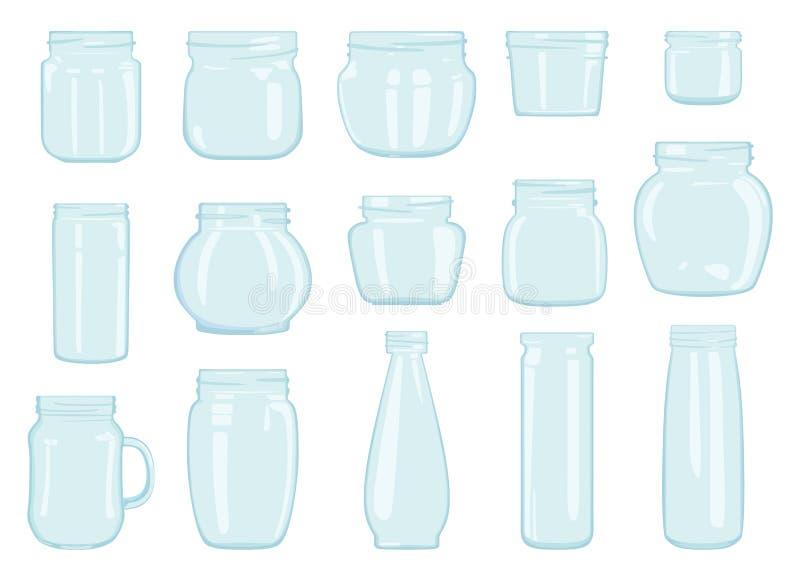 套透明玻璃瓶子 也corel凹道例证向量 向量例证