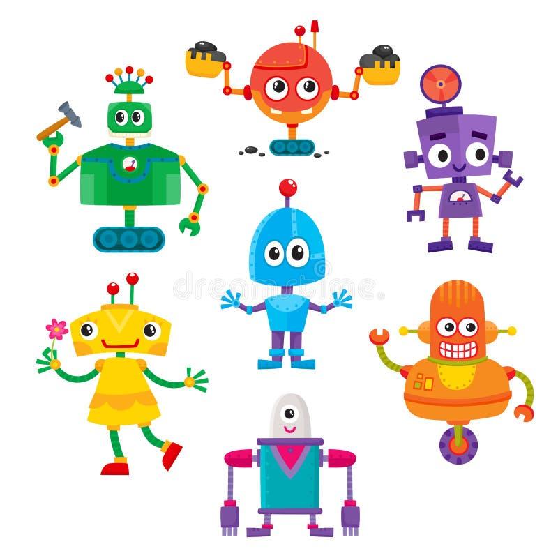 套逗人喜爱和滑稽的五颜六色的机器人字符 向量例证