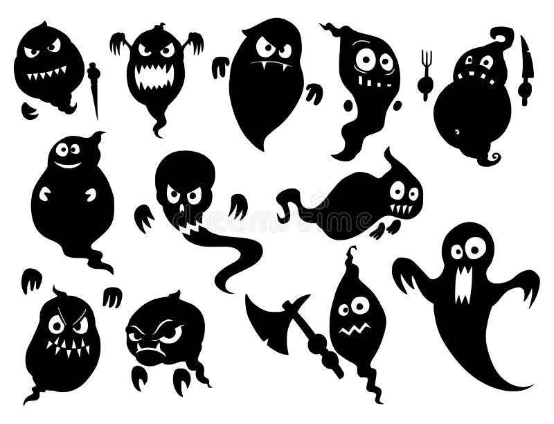 套逗人喜爱的万圣夜妖怪鬼魂剪影 库存例证