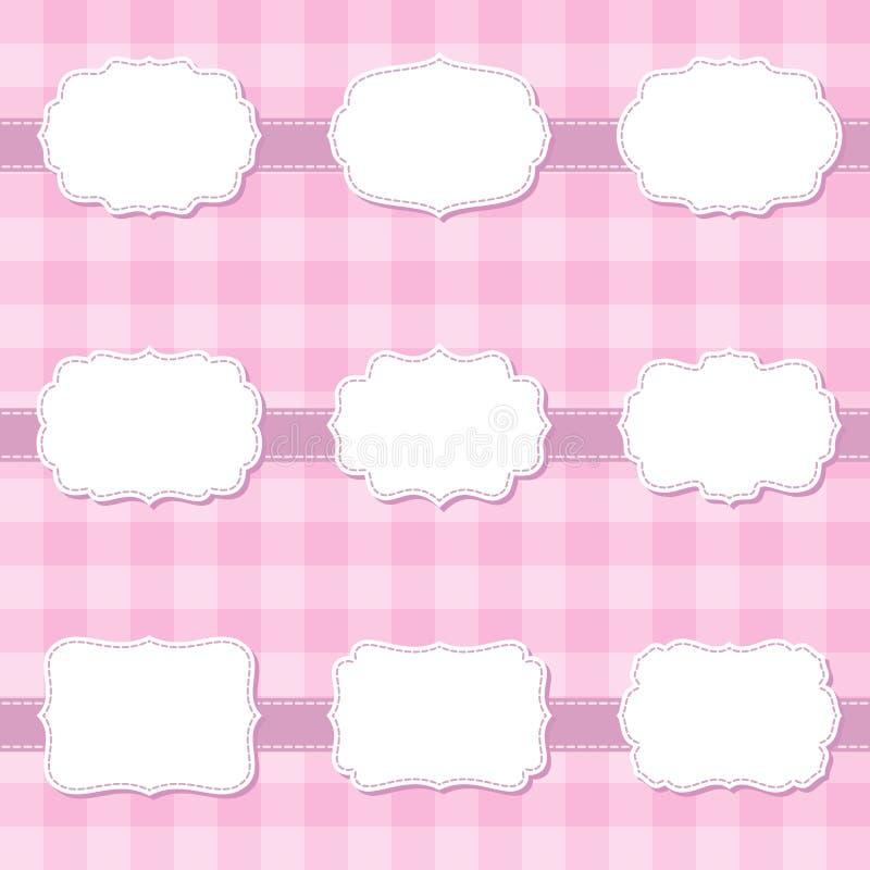套逗人喜爱的动画片装饰缝合的空白的框架 婴儿送礼会的,横幅,贴纸,剪贴薄模板形状标签 皇族释放例证