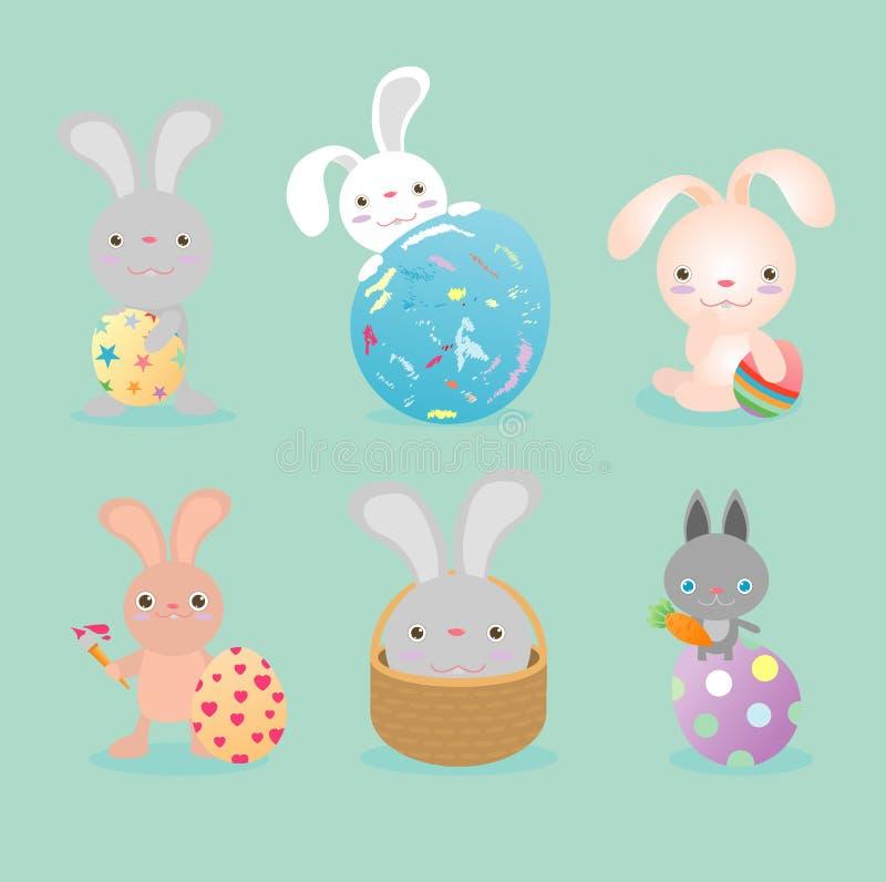 套逗人喜爱的复活节兔子用复活节彩蛋,复活节快乐,愉快的复活节横幅用复活节彩蛋、兔宝宝和复活节彩蛋 库存例证