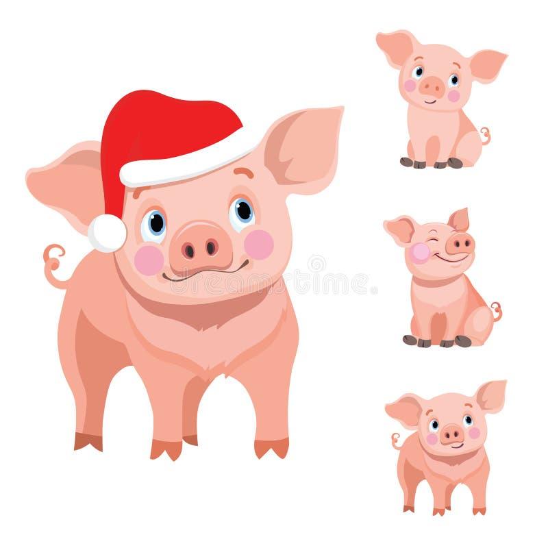 套逗人喜爱的小猪动画片 皇族释放例证