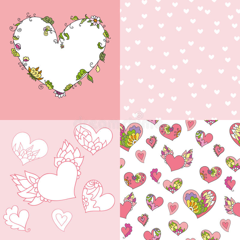 套逗人喜爱的心脏、框架和无缝的样式 向量例证