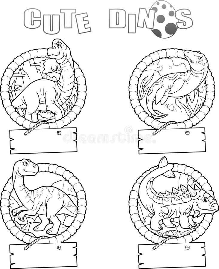 套逗人喜爱的恐龙的图象 库存例证