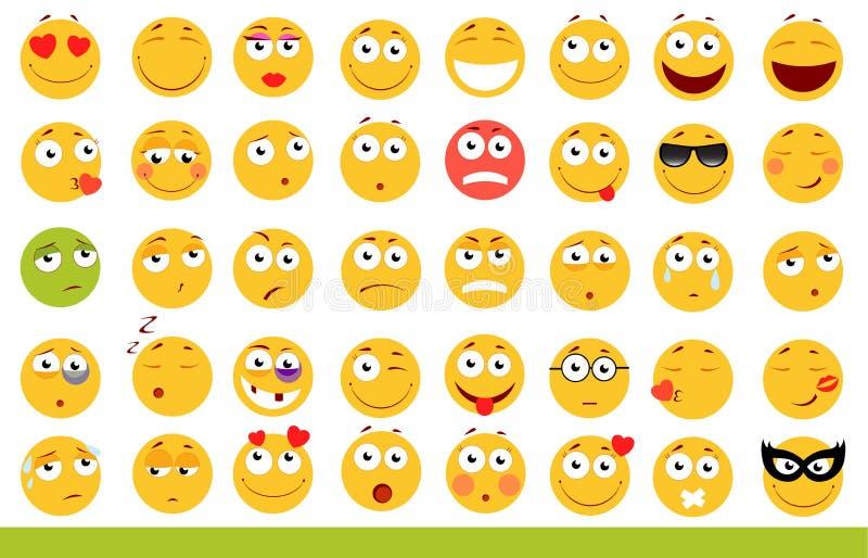 套逗人喜爱的意思号 Emoji和微笑象 在空白背景 也corel凹道例证向量 库存图片