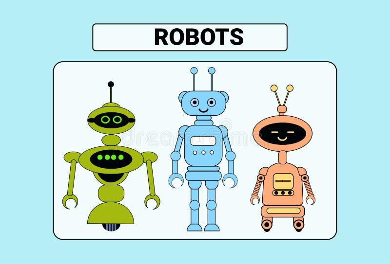套逗人喜爱的机器人动画片机器人字符葡萄酒象 皇族释放例证