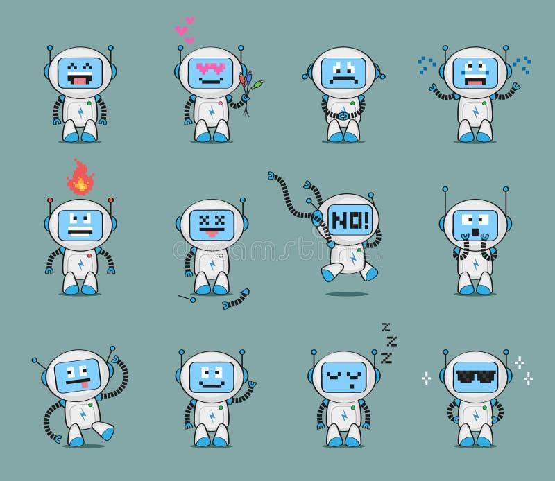 套逗人喜爱的机器人字符用不同的姿势和激动各种各样的 向量例证