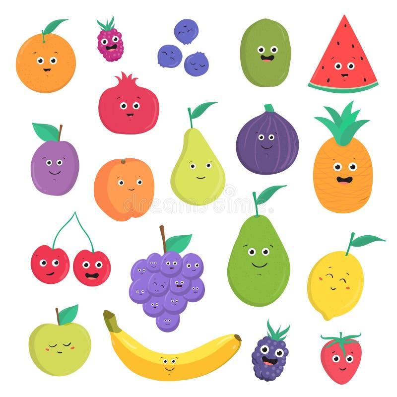 套逗人喜爱的果子和莓果与微笑 在白色背景的明亮的素食食物收藏 五颜六色的向量 向量例证