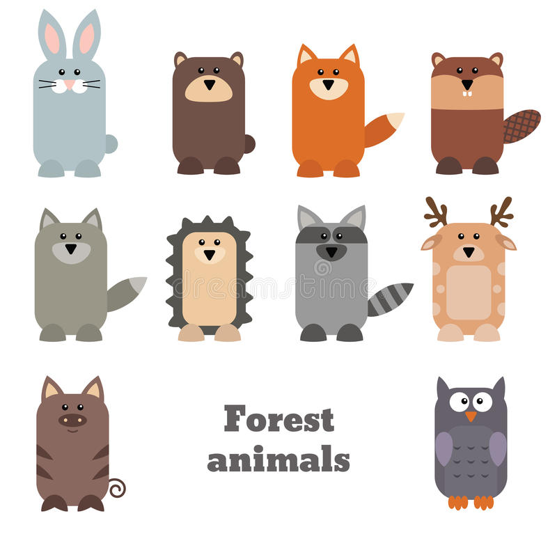 套逗人喜爱的森林动物 向量例证