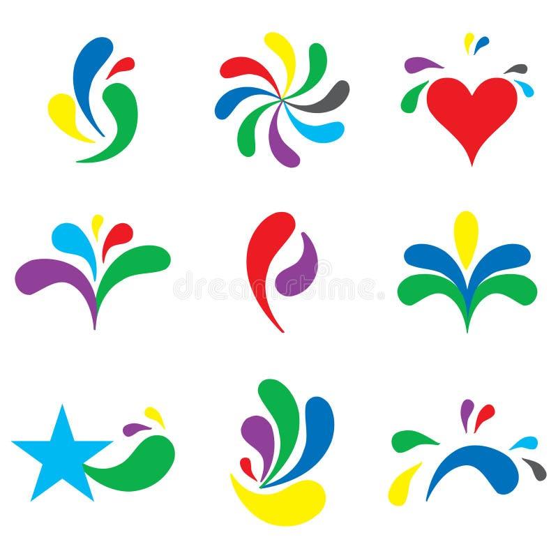 套逗人喜爱的烙记的徽标,设计要素 向量例证