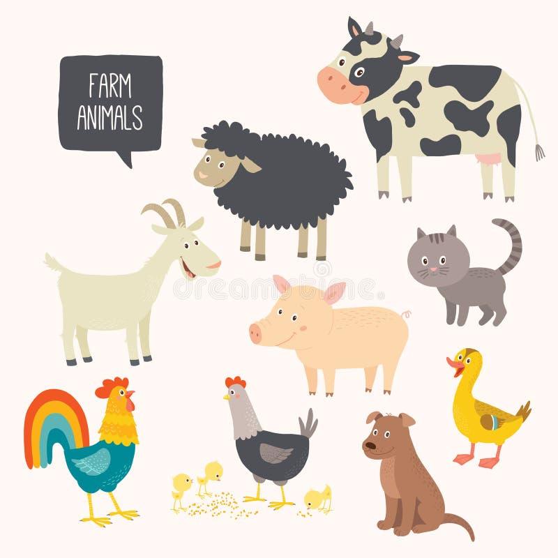 套逗人喜爱的牲口-狗,猫,母牛,猪,母鸡,公鸡,鸭子,山羊 向量例证