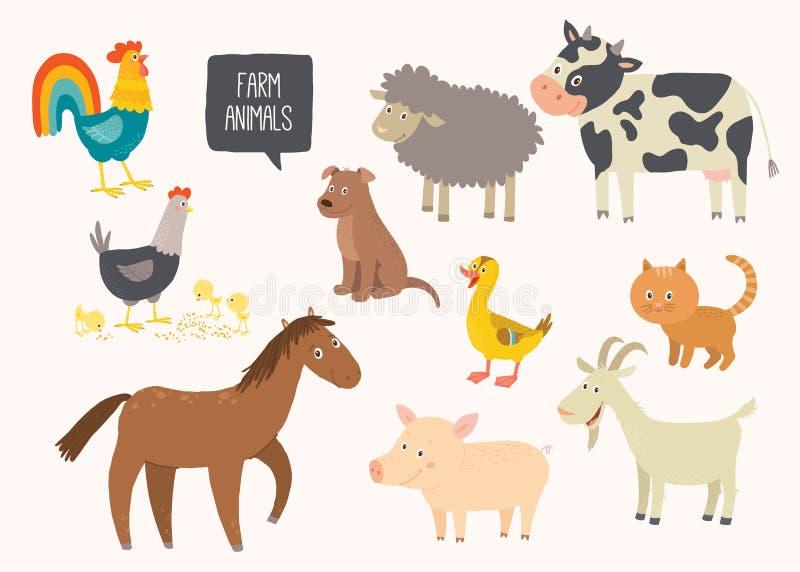 套逗人喜爱的牲口 马,母牛,绵羊,猪,鸭子,母鸡,山羊,狗,猫,公鸡 动画片传染媒介手拉的eps 10 库存例证
