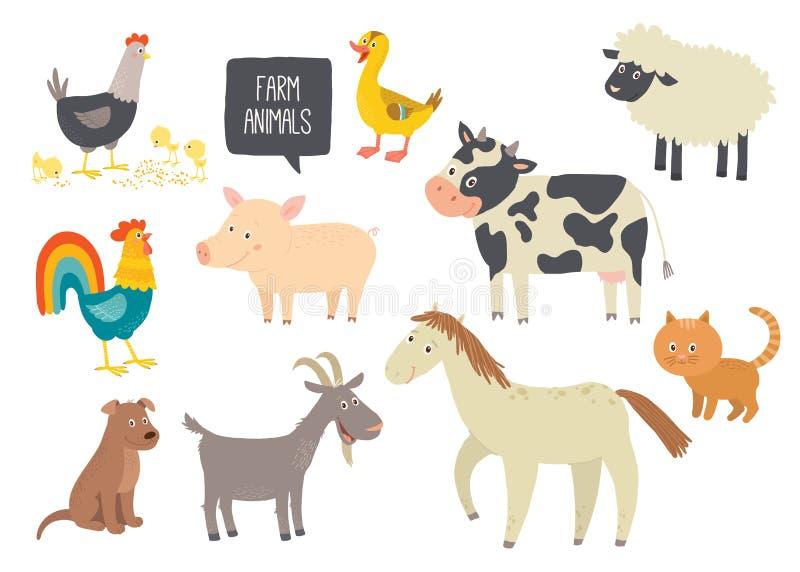 套逗人喜爱的牲口 马,母牛,绵羊,猪,鸭子,母鸡,山羊,狗,猫,公鸡 动画片传染媒介手拉的eps 10 向量例证