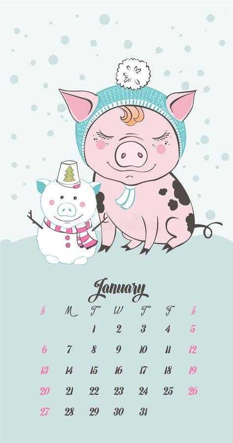 套逗人喜爱的猪漫画人物 2019年的中国标志 新年好 逗人喜爱的滑稽的贪心例证 向量例证