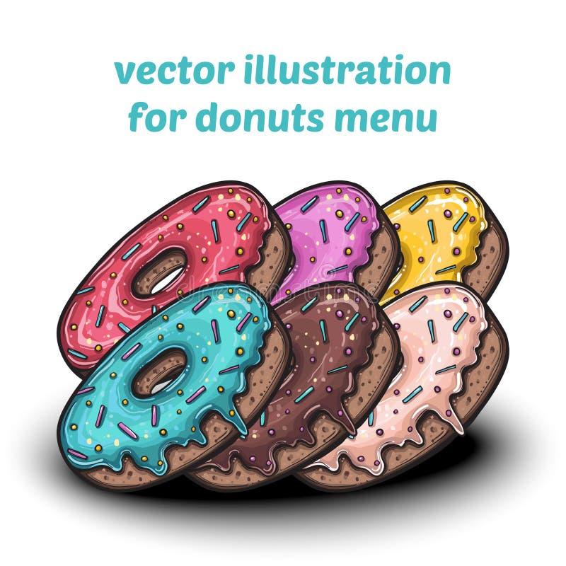 套逗人喜爱的甜五颜六色的油炸圈饼 向量例证