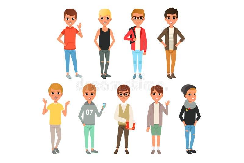 套逗人喜爱的男孩字符在时髦的便衣穿戴了 摆在与微笑的面孔表示的孩子 儿童穿戴 库存例证