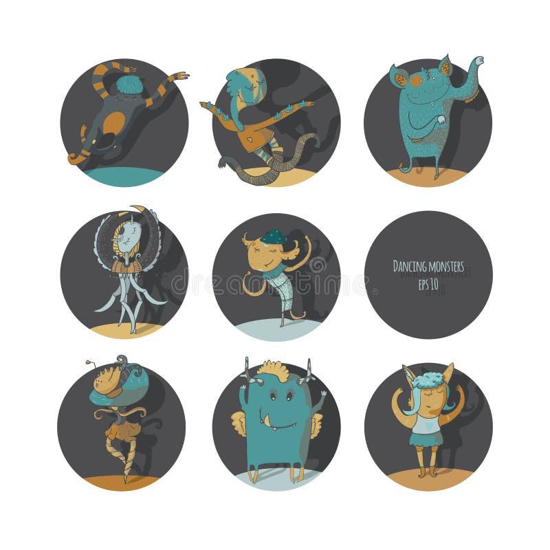 套逗人喜爱的跳舞妖怪,彩色插图,在圈子的每个生物 向量例证