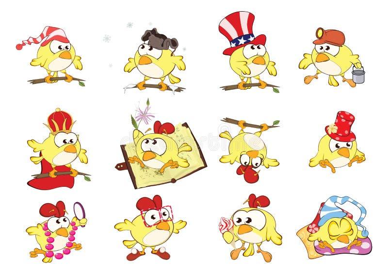 套逗人喜爱的鸡用您的不同的姿势设计 背景漫画人物厚颜无耻的逗人喜爱的狗愉快的题头查出微笑白色 库存例证