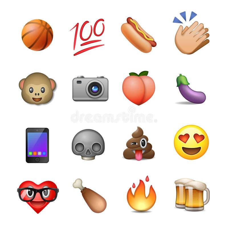套逗人喜爱的兴高采烈的意思号, emoji设计 皇族释放例证