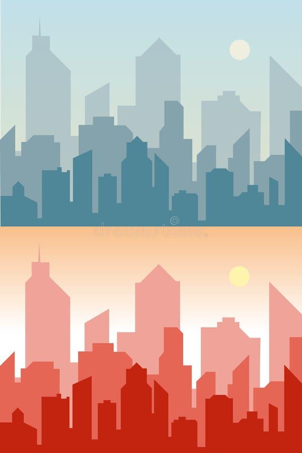 套都市风景背景 地平线剪影 现代的结构 蓝色都市风景 水平的横幅与 库存例证