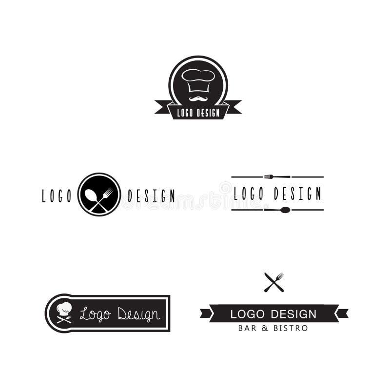 套酒吧和小餐馆商标启发的,艺术品象设计和适应,白色背景 库存例证