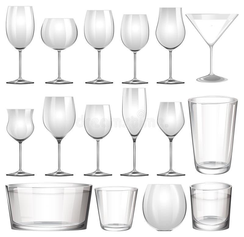 套酒杯和杯子 库存例证