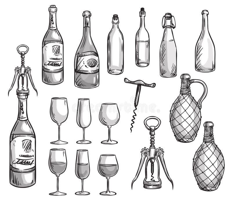 套酒瓶、玻璃和拔塞螺旋 库存例证