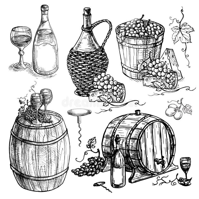在图表样式手拉的传染媒介例证的套酒瓶和桶和葡萄图片