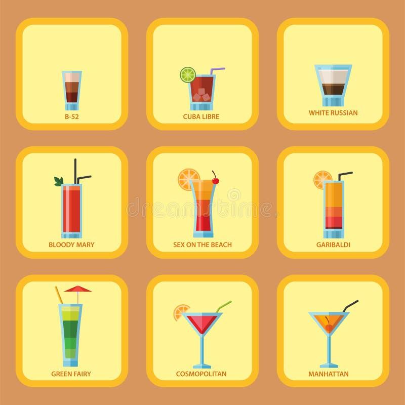 套酒精鸡尾酒拟订果子冷的饮料热带世界性生气勃勃党酒精美好的龙舌兰酒传染媒介 向量例证