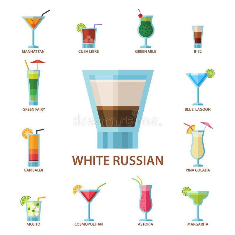 套酒精鸡尾酒果子寒冷喝热带世界性生气勃勃收藏和党酒精甜点龙舌兰酒 皇族释放例证