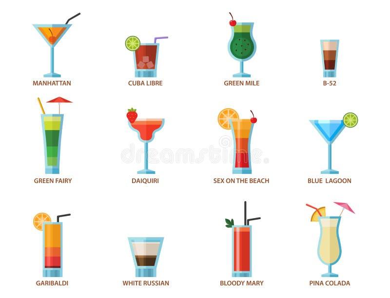 套酒精鸡尾酒果子寒冷喝热带世界性生气勃勃收藏和党酒精甜点龙舌兰酒 向量例证