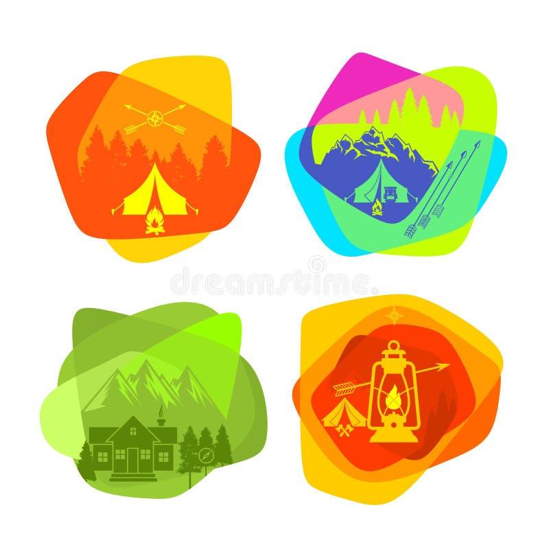 套野营和室外休闲的明亮的色的商标 库存例证