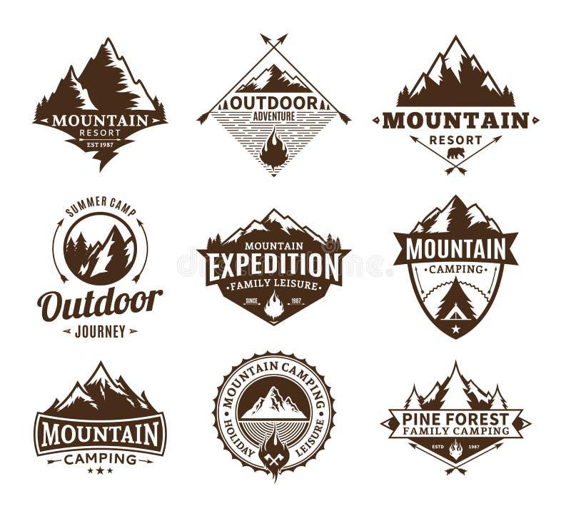 套野营和室外活动商标 向量例证