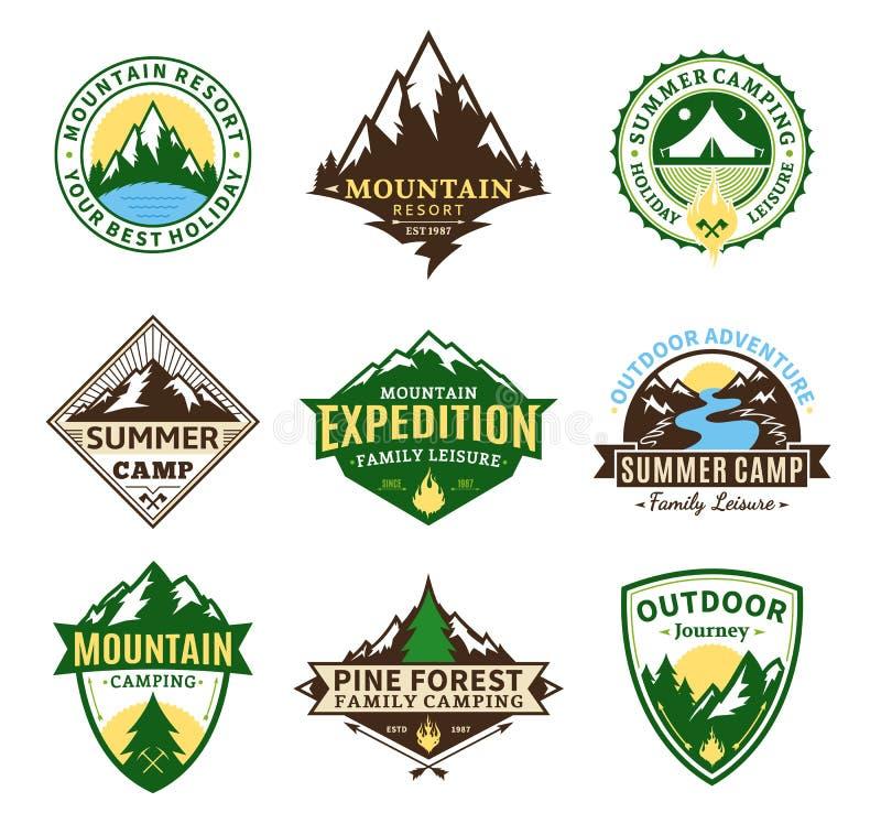 套野营和室外活动标签 库存例证