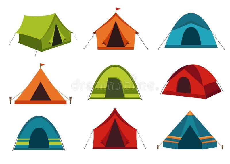 套野营的帐篷在白色背景的传染媒介象 皇族释放例证