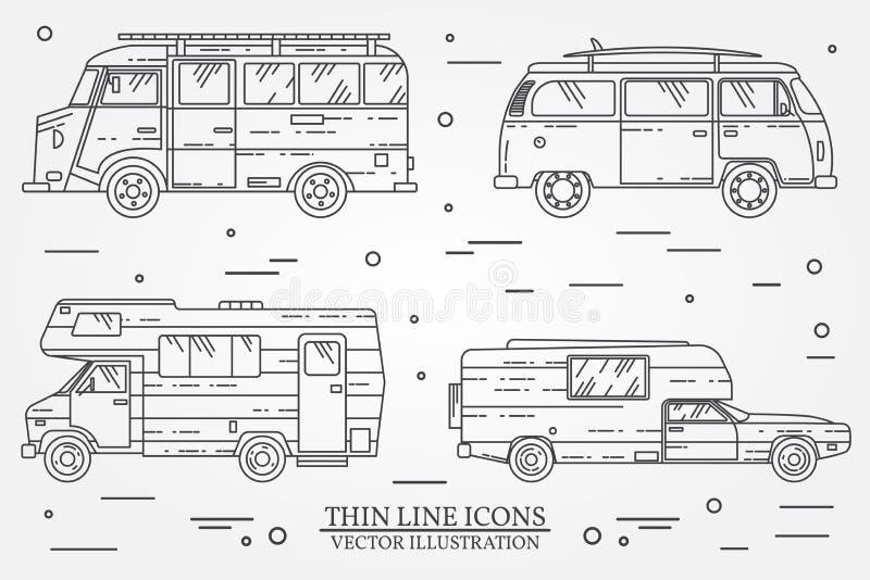 套野营的汽车 汽车和露营车集合 夏天旅行家庭旅行概念 向量例证