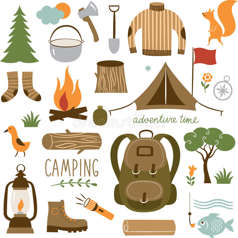 套野营的设备象集合