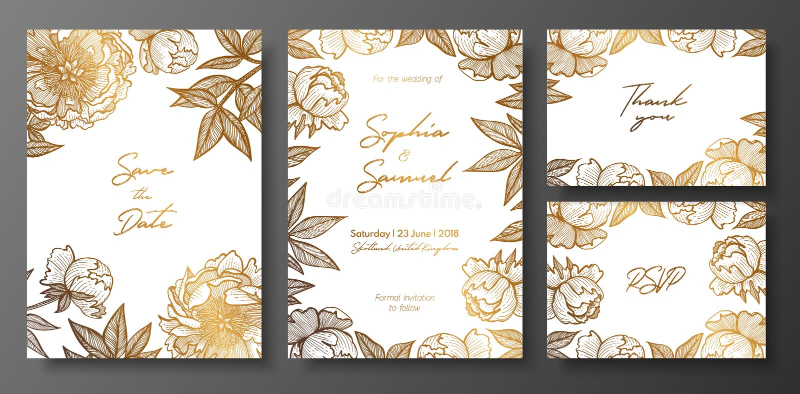 套金子和白色喜帖与牡丹 救球的金花卉卡片模板日期,谢谢拟订,婚姻邀请, 向量例证