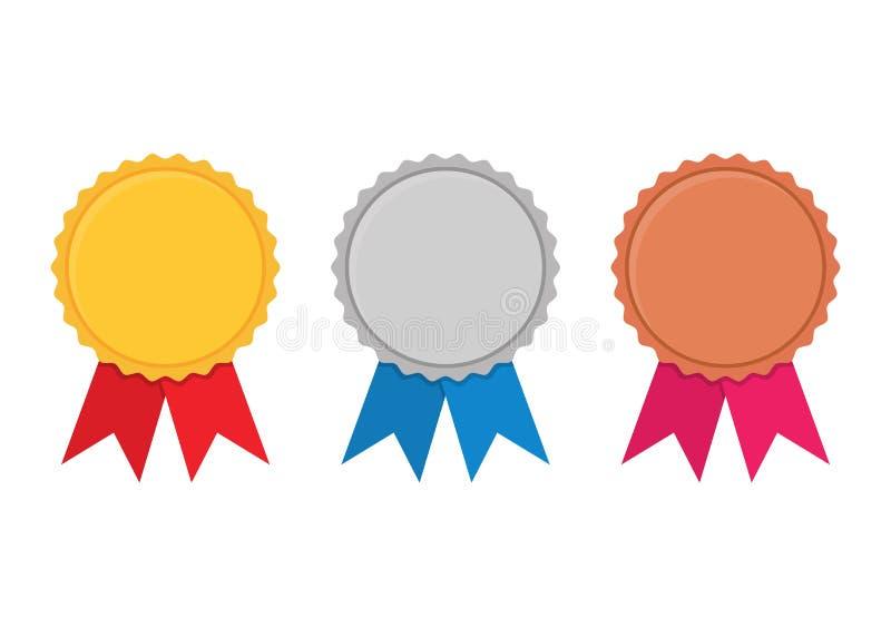 套金子,银和古铜授予在白色的奖牌 库存例证