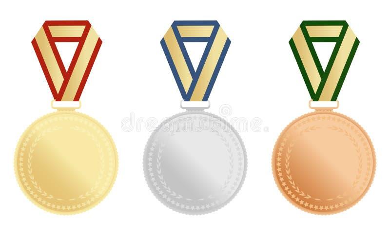 套金子,银和古铜授予在白色背景的奖牌 也corel凹道例证向量 库存例证