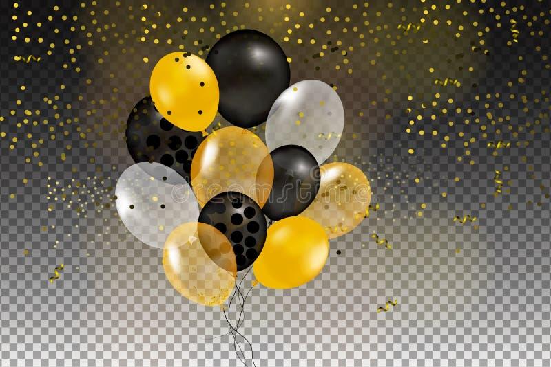 套金子,黑色,黄色,在天空中隔绝的白色氦气球 皇族释放例证